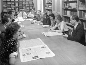 Redaktionskonferenz FR, etwa 1954, Karl Gerold [5.v.r.]
